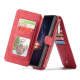 CaseMe-007 Crazy Horse Texcture Detachable Horizontal Flip Leather Case for Galaxy Note9, with Card Slot & Holder & Zipper Wallet & Photo Frame (Red)