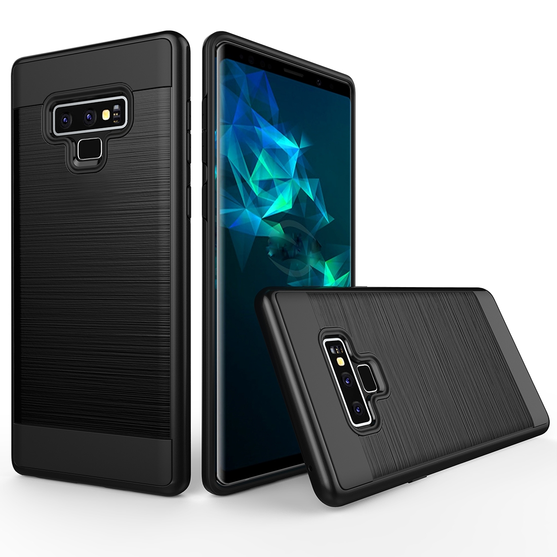 brushed texture shockproof rugged armor protective case for galaxy note 9 black. Black Bedroom Furniture Sets. Home Design Ideas