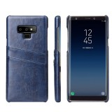 Fierre Shann Retro Oil Wax Texture PU Leather Case for Galaxy Note9, with Card Slots (Blue)