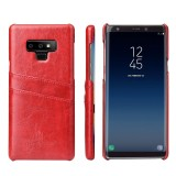 Fierre Shann Retro Oil Wax Texture PU Leather Case for Galaxy Note9, with Card Slots (Red)