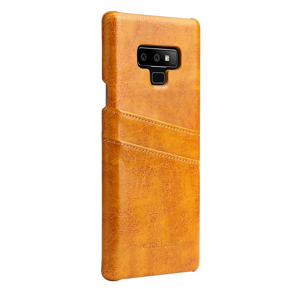 Fierre Shann Retro Oil Wax Texture PU Leather Case for Galaxy Note9, with Card Slots (Yellow)