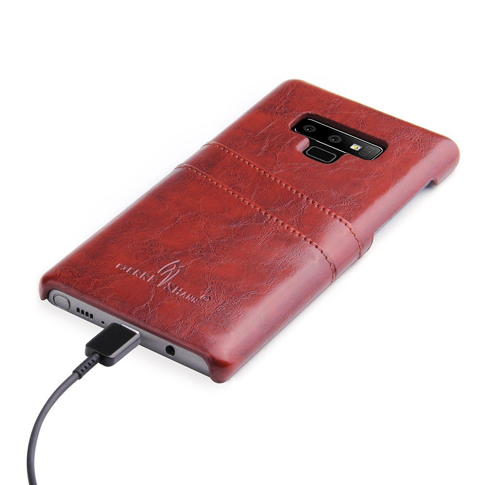 Fierre Shann Retro Oil Wax Texture PU Leather Case for Galaxy Note9, with Card Slots (Brown)
