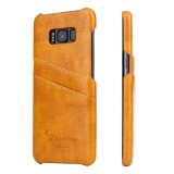 Fierre Shann Retro Oil Wax Texture PU Leather Case for Galaxy S8+ / G9550, with Card Slots (Yellow)