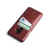 Fierre Shann Retro Oil Wax Texture PU Leather Case for Galaxy S9+, with Card Slots (Brown)