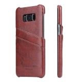 Fierre Shann Retro Oil Wax Texture PU Leather Case for Galaxy S8, with Card Slots (Brown)