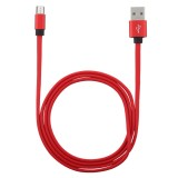 1m Flat Cord USB A to Micro USB Fast Charging Data Sync Charge Cable, For Galaxy, Huawei, Xiaomi, LG, HTC and Other Smart Phones (Red)