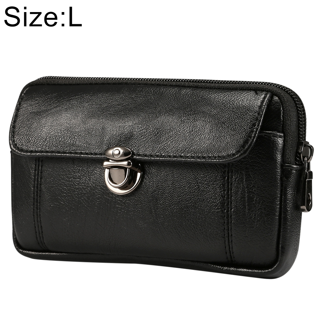 Men Litchi Texture PU Universal Phone Horizontal Waist Bag, Size: L, For iPhone, Samsung, Galaxy Note9, Huawei, Xiaomi, HTC, Sony, Lenovo and other 6.0~6.3 inch Smartphones (Black)
