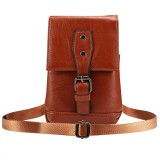 Men Litchi Texture PU Universal Phone Single-shouler / Waist Bag, For iPhone, Samsung, Galaxy Note9, Huawei, Xiaomi, HTC, Sony, Lenovo and other 5.5~6.5 inch Smartphones (Brown)
