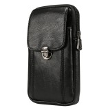 Men Litchi Texture PU Universal Phone Vertical Waist Bag, Size: S, For iPhone, Samsung, Galaxy Note9, Huawei, Xiaomi, HTC, Sony, Lenovo and other 5.2~6.0 inch Smartphones (Black)