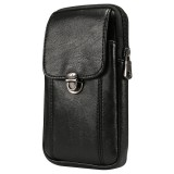 Men Litchi Texture PU Universal Phone Vertical Waist Bag, Size: L, For iPhone, Samsung, Galaxy Note9, Huawei, Xiaomi, HTC, Sony, Lenovo and other 6.3~6.5 inch Smartphones (Black)