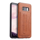 Fierre Shann Full Coverage Protective Leather Case for Galaxy S8+, with Holder & Card Slot (Brown)