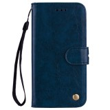 Business Style Oil Wax Texture Horizontal Flip Leather Case for Galaxy A6 Plus (2018), with Holder & Card Slots & Wallet (Blue)