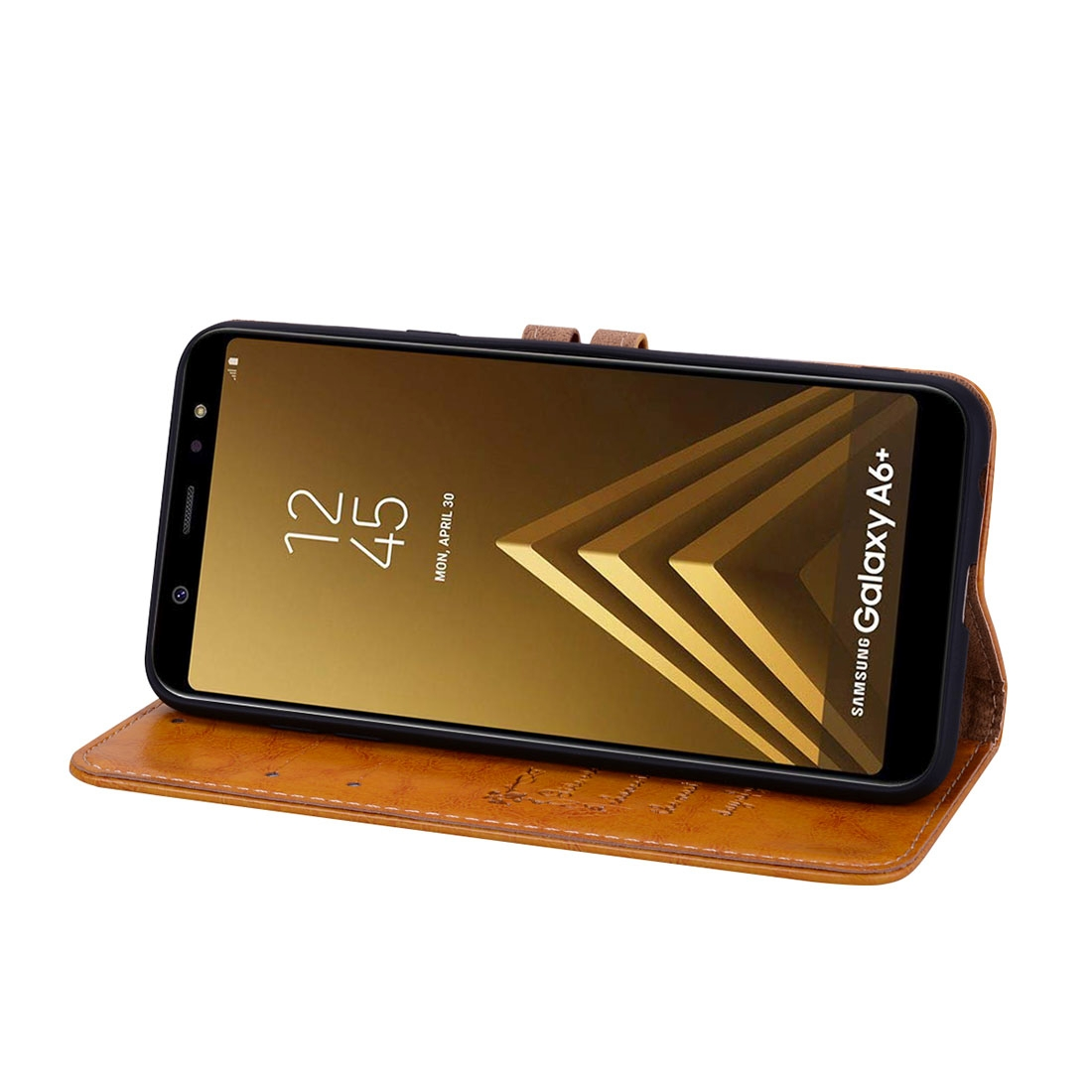 Business Style Oil Wax Texture Horizontal Flip Leather Case for Galaxy A6 Plus (2018), with Holder & Card Slots & Wallet (Brown)