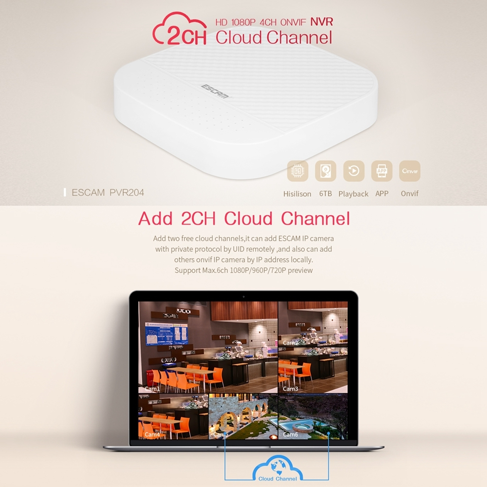ESCAM PVR204 1080P 4CH+2CH ONVIF NVR Digital Video Recorder with 2CH Cloud  Channel for IP Camera System (White)