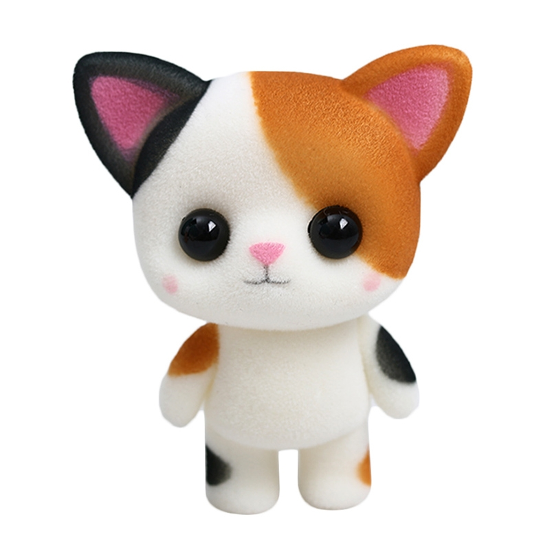 Calico Cat With Interesting Gps >> Little Cute Pvc Flocking Animal Calico Cat Dolls Creative Gift Kids