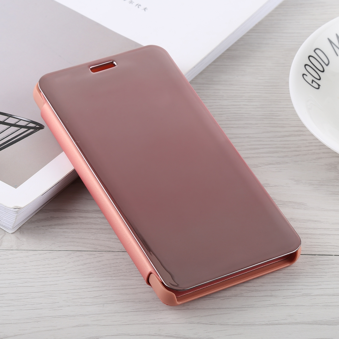 timeless design f2cc6 4410e Mirror Clear View Horizontal Flip PU Leather Case for Xiaomi Redmi Note 5  Pro, with Holder (Rose Gold)