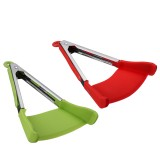 2 in 1  Non-stick Clever Tongs Heat Resistant Silicone Spatula Cooking Food Clip Camping Picnic BBQ