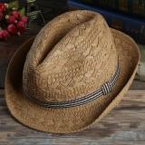 Mens Outdoor Handmade Woven Straw Jazz Hat Sun Protection Short Brimmed  Fedora Cap Visor