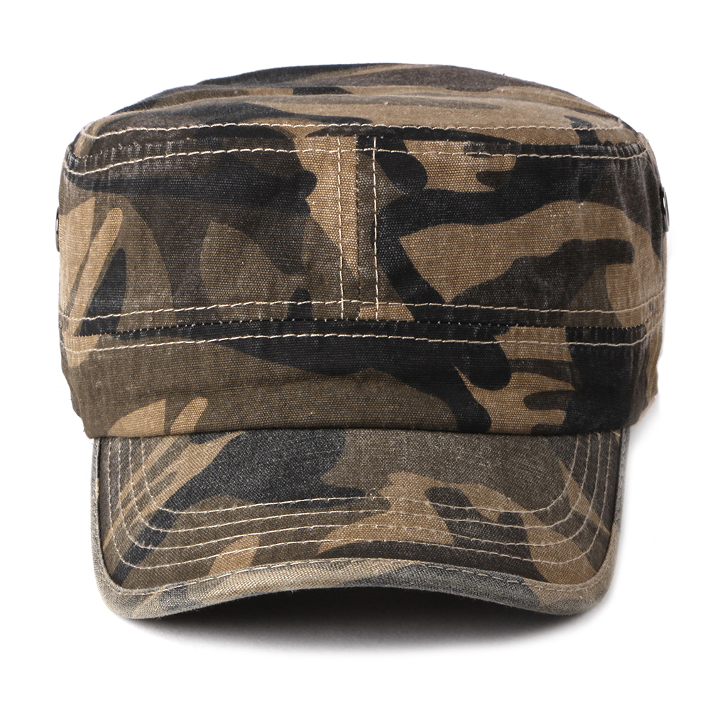 Men Washed Cotton Camouflage Flat Top Hats Outdoor Visor Military Cadet Cap  Adjustable
