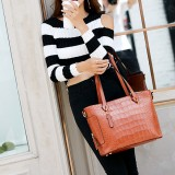Women Crocodile Pattern Tote Handbag Casual Large Capacity Crossbody Bag