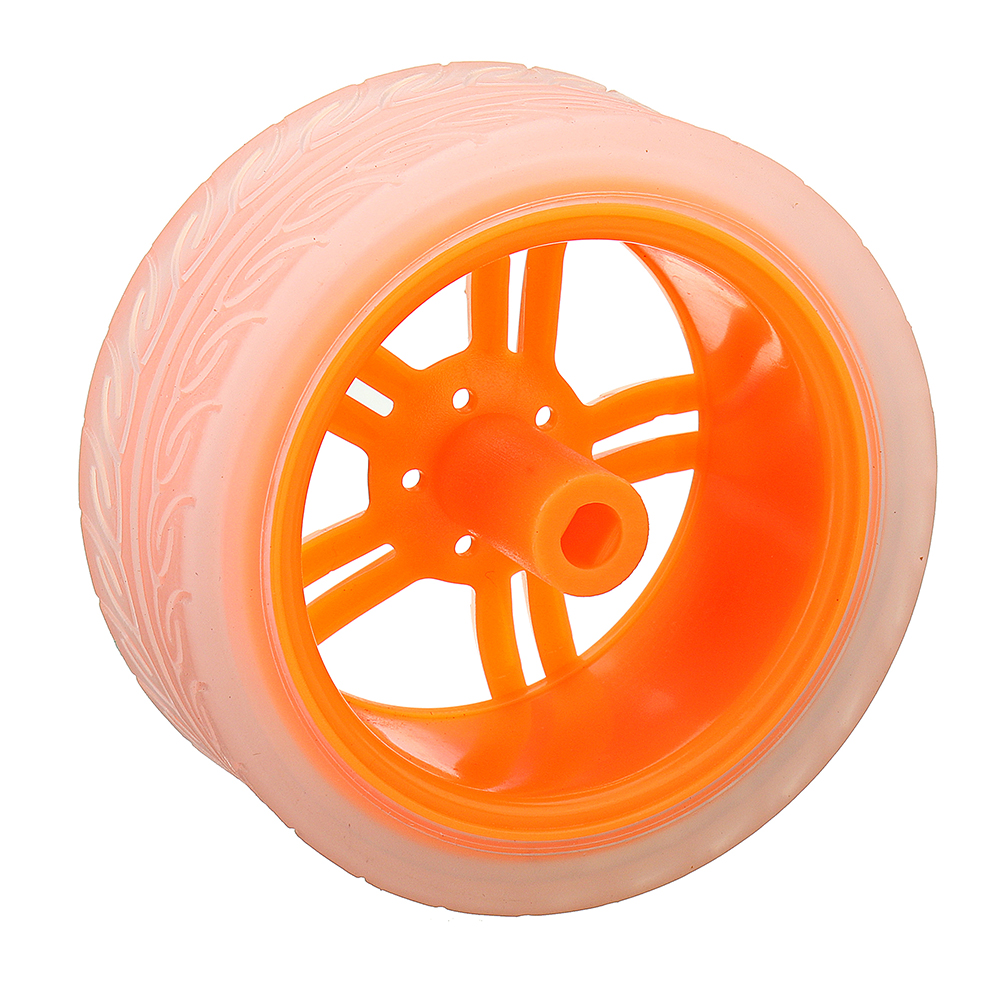 4Pcs 65*27mm Orange+Transparent Color Rubber Wheels for TT Motor Arduino Smart Chassis Car