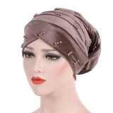 Women Fashion Muslim Pearl Velvet Crossed Chemical Turban Hat Winter Earmuffs Beanie Cap