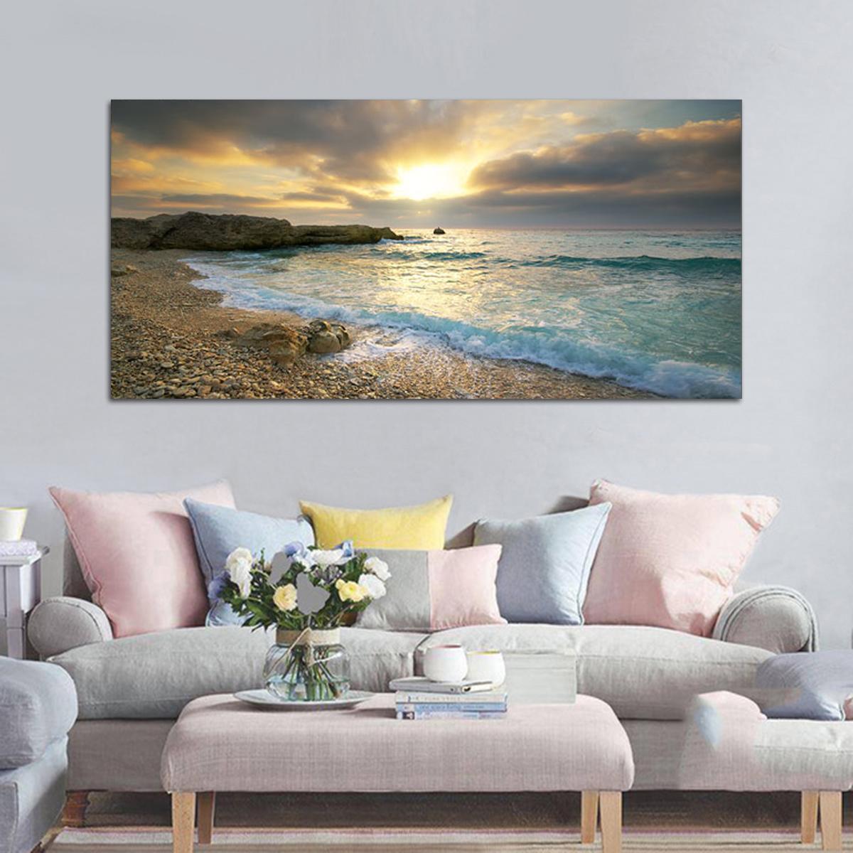 Beach Canvas Print Ocean Wave Sunset Sea No Frame ...
