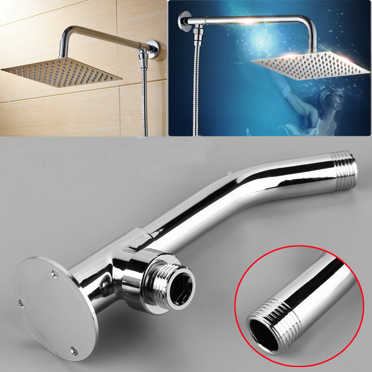 13 2cm Wall Mounted Shower Extension Arm Pipe Bottom Entry For Rain Shower Head