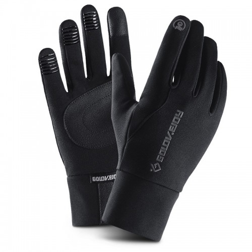 Mens Winter Riding Waterproof Touch Screen Gloves Outdoor Plus Velvet Non-slip Full Finger Glove