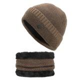 Men Women Coral Fleece Thicken Beanie Hat Scarf Set Winter Warm Knitted Hat