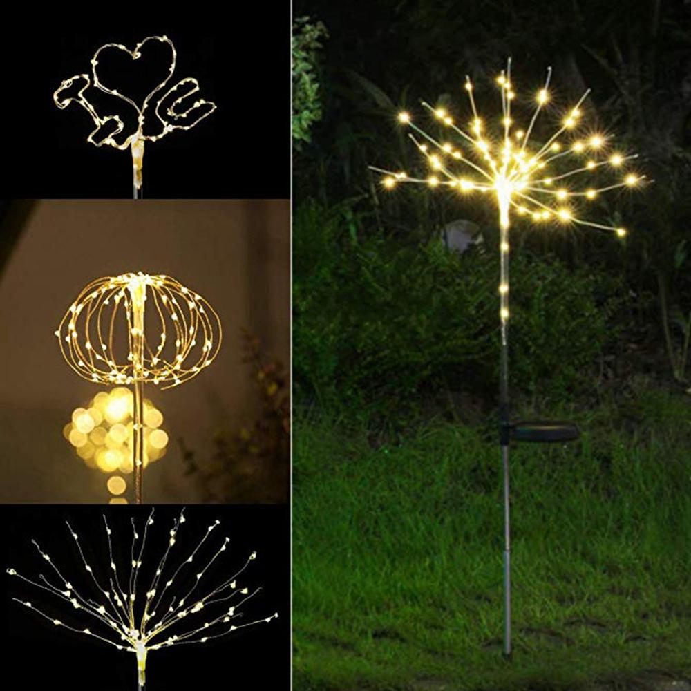 2PCS Solar Power DIY Light Control LED Firework Starburst ...