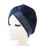Women Vintage Chemotherapy Flannel Turban Hat Casual Winter Muslim Beanie Cap