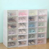 Foldable Clear Plastic Shoe Boxes Case Stackable Tidy Display Storage Organizer Single Box