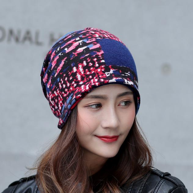 Women Winter Warm Rabbit Fur Hat Headscarf Printing Knit Beanie Neck Warmer Pile Cap