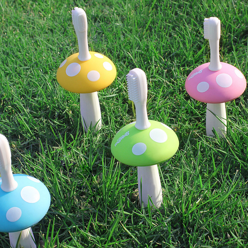 Cute Kids Baby Mushroom Shape Infant Soft Silicone Finger Toothbrush Teeth Massager Brush