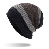 Winter Stripe Plaid Plus Velvet Earmuffs Knitted Hat Double Layers Slouch Beanie Caps