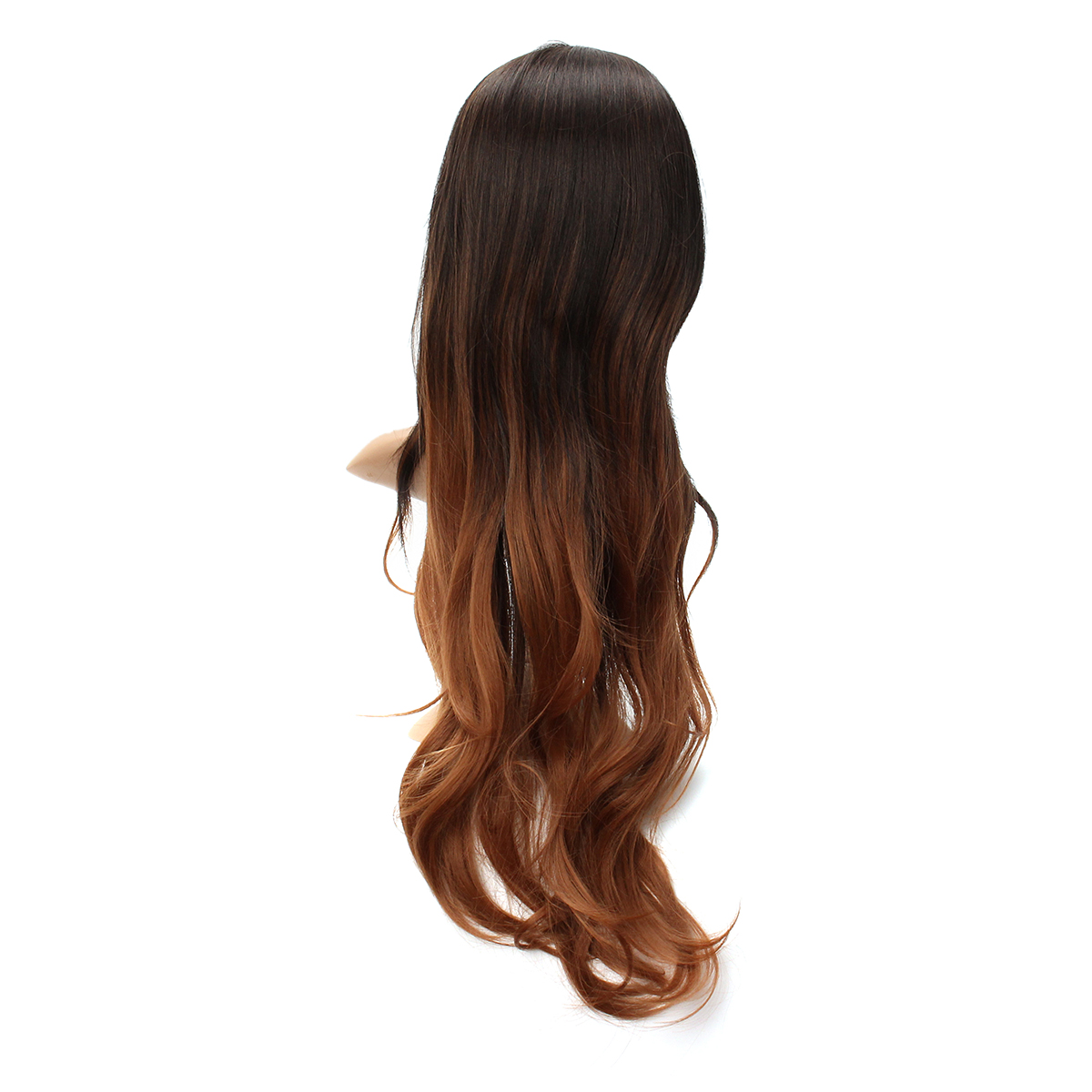 Women's Long Wavy Curly Hair Synthetic Wig Black Brown Ombre Cosplay Party Wig