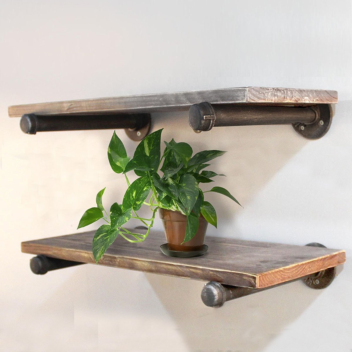 24 36 Industrial Rustic Pipe Wall Shelf Bracket Storage