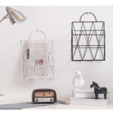 Modern Metal Wire Wall Hanging Shelf Baskets Rack Newspaper Book Storage Display Unit Organizer