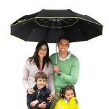 Golf Umbrella Double Lay Windproof Anti-UV Umbrella 3-4 People Camping Three Folding Sunshade