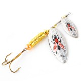 Double Spoon Sequins Bass Lure Bait Minnow Fishing Lure Triple Hook with Hook