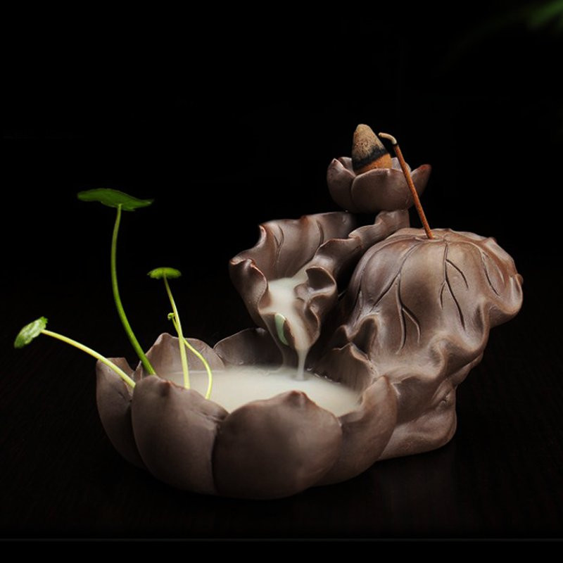 Pottery Crafts Lotus Pond Backflow Incense Burner Holder Censer With 5 Cones UK