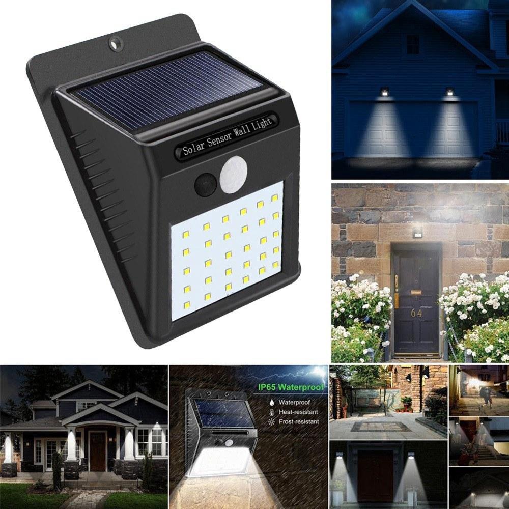 Solar 30 Led Pir Motion Sensor Wall Light Waterproof Outdoor Path Yard Garden Security Lamp