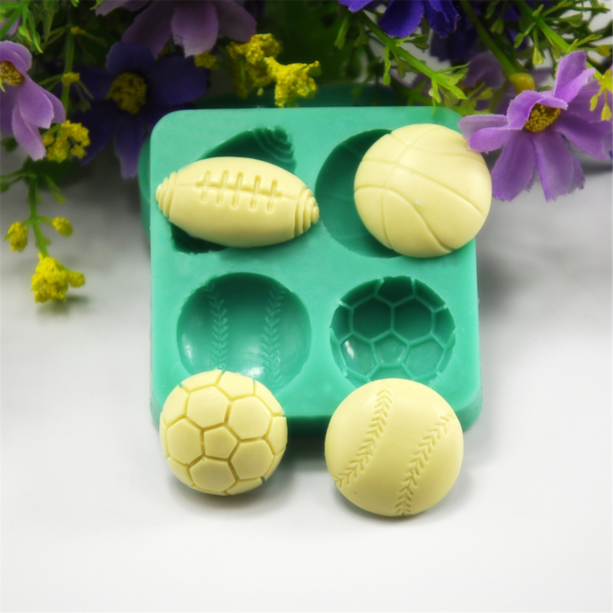 3D Silicone Football Basketball Fondant Mold Cake Sugar Chocolate Baking Tool Baking Mold