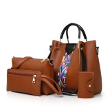 Women 4 Pcs Leisure Bucket Bag Handbag Crossbody Bag Shoulder Bag Clutch Bag Key Bag Women Purse