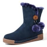LOSTISY Women Zipper Boots Plush Fur Warm Snow Boots
