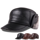 L/ XL/2XL Middle-aged First Layer Cowhide Windproof Trapper Hat Thicken Plus Velvet Hunting Hat