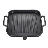 BBQ Grill Pan Non-stick Cooking Grill Pan Iron Steak Frying Pan Camping Picnic Cookware