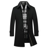 Black Business Stylish Woolen Overcoat Mid Long Trench Coat Jacket for Men