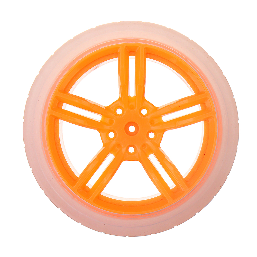 2Pcs 65*27mm Orange+Transparent Color Rubber Wheels for TT Motor Arduino Smart Chassis Car